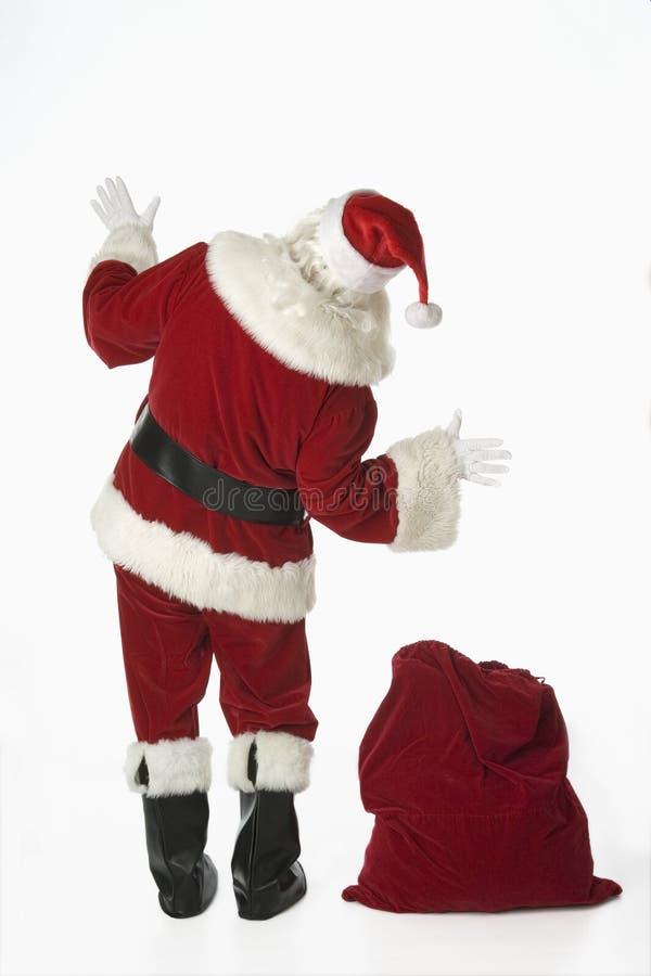 λευκό santa σάκων δώρων ανασκόπ στοκ εικόνα