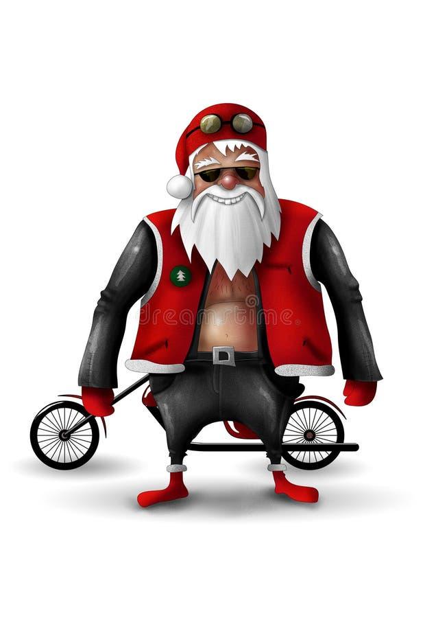 λευκό santa Claus ποδηλατών διανυσματική απεικόνιση