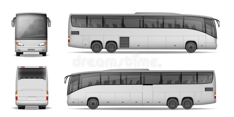 Λεωφορείο λεωφορείων που απομονώνεται στο άσπρο υπόβαθρο Λεωφορείο επιβατών ταξιδιού για τη διαφήμιση και το σχέδιό σας Ρεαλιστικ διανυσματική απεικόνιση