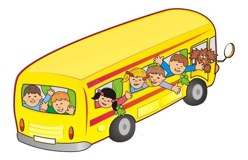 Λεωφορείο και παιδιά διανυσματική απεικόνιση