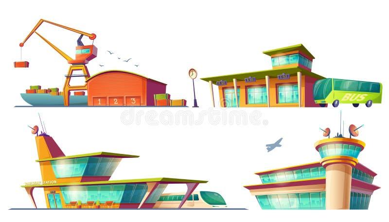 Λεωφορείο και σταθμοί τρένου, αερολιμένας, θαλάσσιος λιμένας ελεύθερη απεικόνιση δικαιώματος