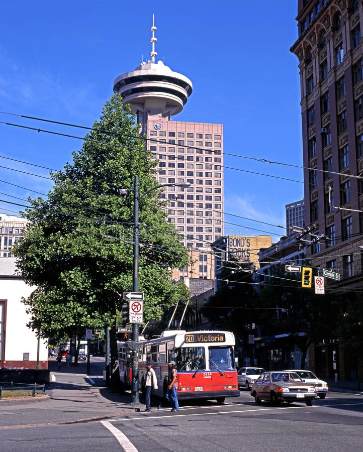 Λεωφορείο καροτσακιών στο κέντρο της πόλης, Βανκούβερ στοκ εικόνες