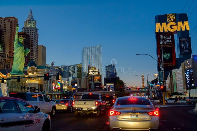 Λεωφόρος του Λας Βέγκας τή νύχτα στοκ εικόνα