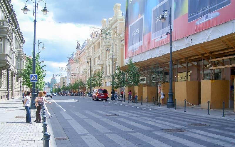 Λεωφόρος Gediminas, κεντρικός δρόμος Vilnius στοκ φωτογραφίες