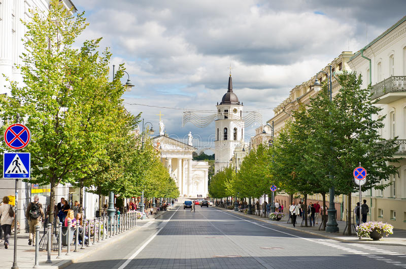 Λεωφόρος Gediminas σε Vilnius στοκ εικόνες