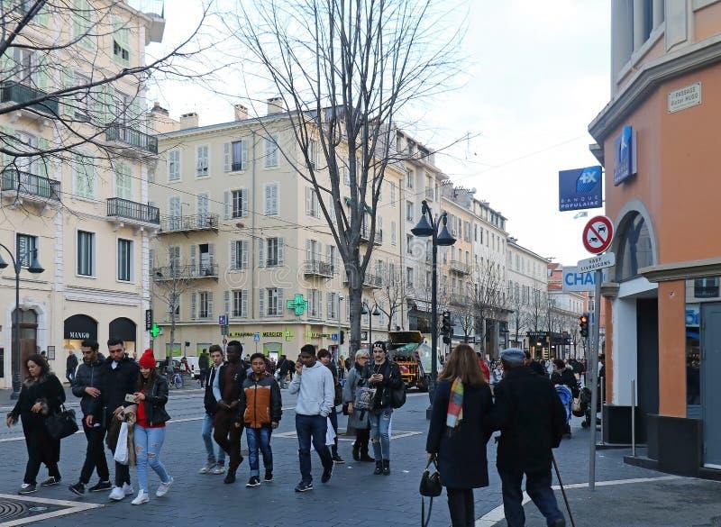 Λεωφόρος Jean Medecin στη Νίκαια στοκ φωτογραφία με δικαίωμα ελεύθερης χρήσης