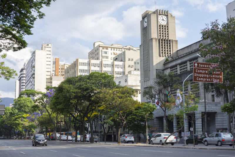 Λεωφόρος Pena Afonso στο στο κέντρο της πόλης Μπέλο Οριζόντε στοκ εικόνα