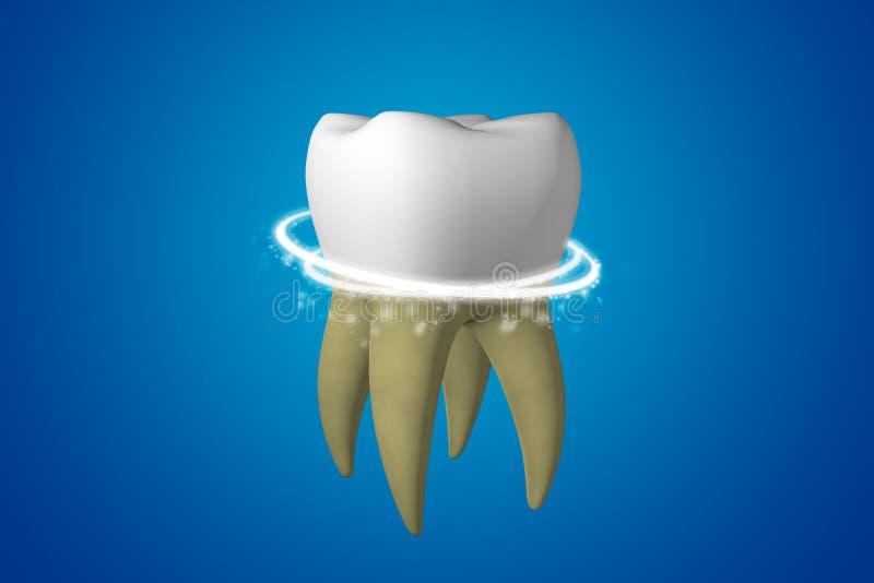 λεύκανση δοντιών Η κίτρινη βρώμικη λεύκανση δοντιών και καθαρίζει τη μαγική γραμμή σε ένα άσπρο υγιές δόντι στο μπλε τρισδιάστατο ελεύθερη απεικόνιση δικαιώματος