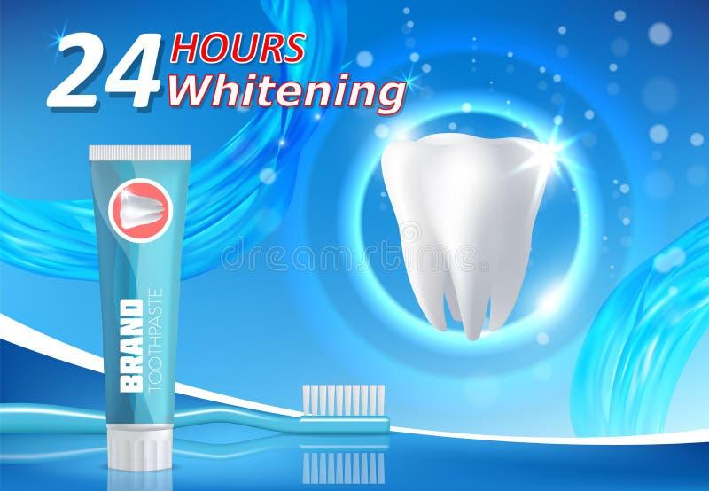 Λεύκανση της οδοντόπαστας που διαφημίζει το διανυσματικό πρότυπο εμβλημάτων αφισών απεικόνιση αποθεμάτων