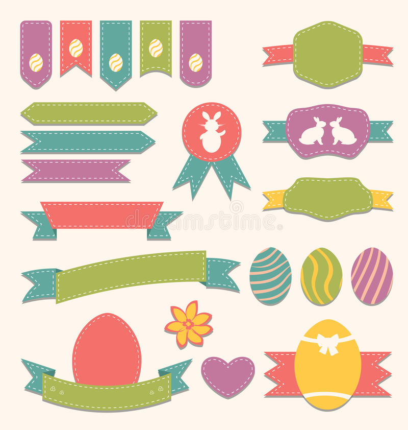 Λεύκωμα αποκομμάτων Πάσχας καθορισμένο - ετικέτες, κορδέλλες και άλλα στοιχεία (3) διανυσματική απεικόνιση