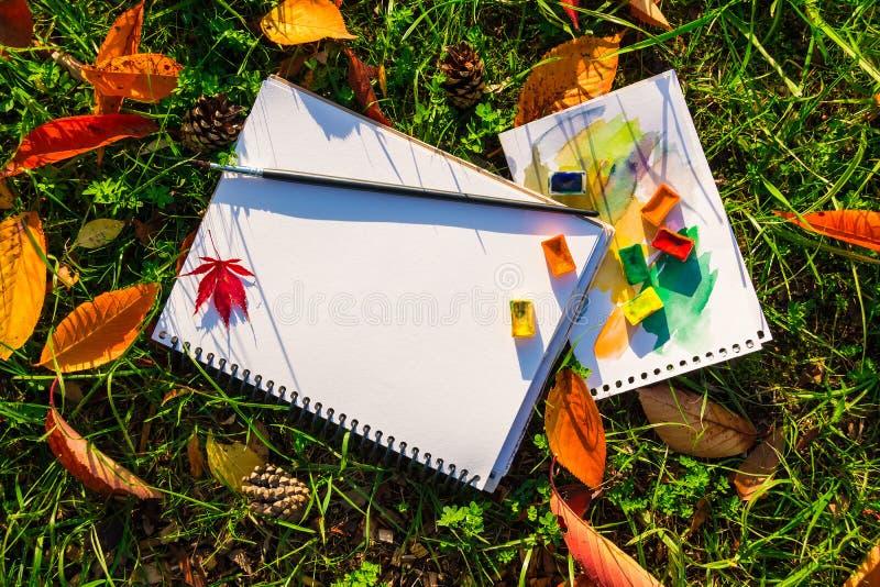 Λεύκωμα, watercolor και βούρτσα που βρίσκονται στη χλόη στοκ εικόνες