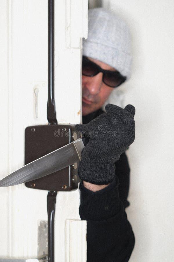 Ληστής που τιτιβίζει από μια πόρτα στοκ εικόνα με δικαίωμα ελεύθερης χρήσης