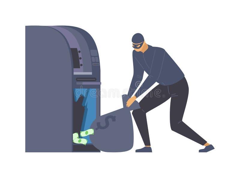 Ληστεία ATM, απεικόνιση μεγάλου επιπέδου διανύσματος Επικίνδυνος διαρρήκτης με σακίδιο, εγκληματικός με μεταμφιεσμένο χαρακτήρα κ διανυσματική απεικόνιση