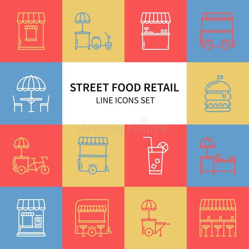 Λιανικά λεπτά εικονίδια γραμμών τροφίμων οδών καθορισμένα Φορτηγό τροφίμων, περίπτερο, καροτσάκι, στάβλος αγοράς ροδών, κινητός κ διανυσματική απεικόνιση