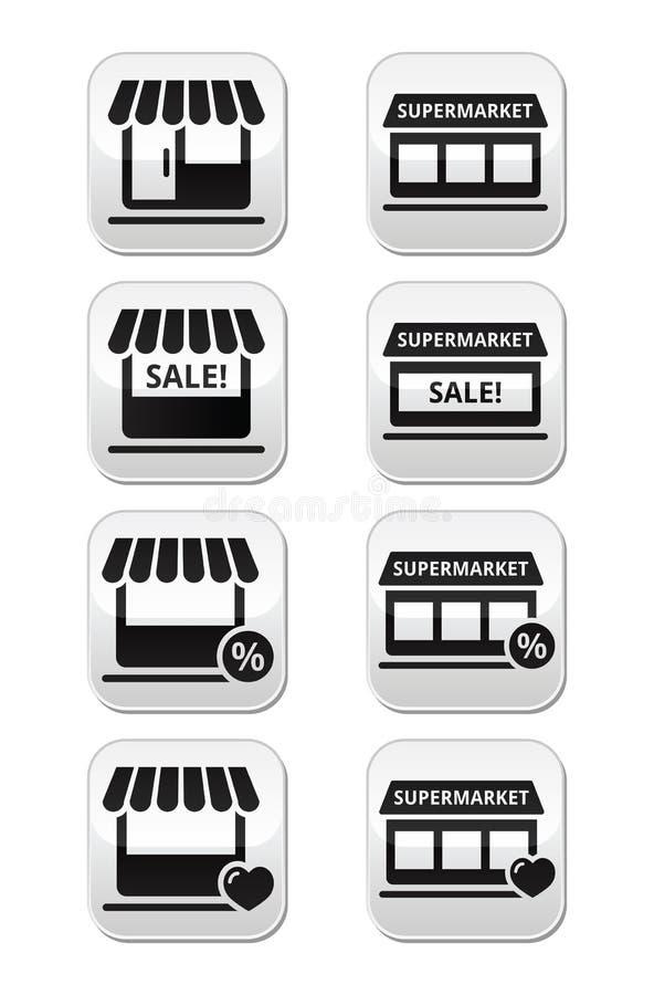Λιανικός, αγορές, σε απευθείας σύνδεση κουμπιά αγοράς διανυσματική απεικόνιση