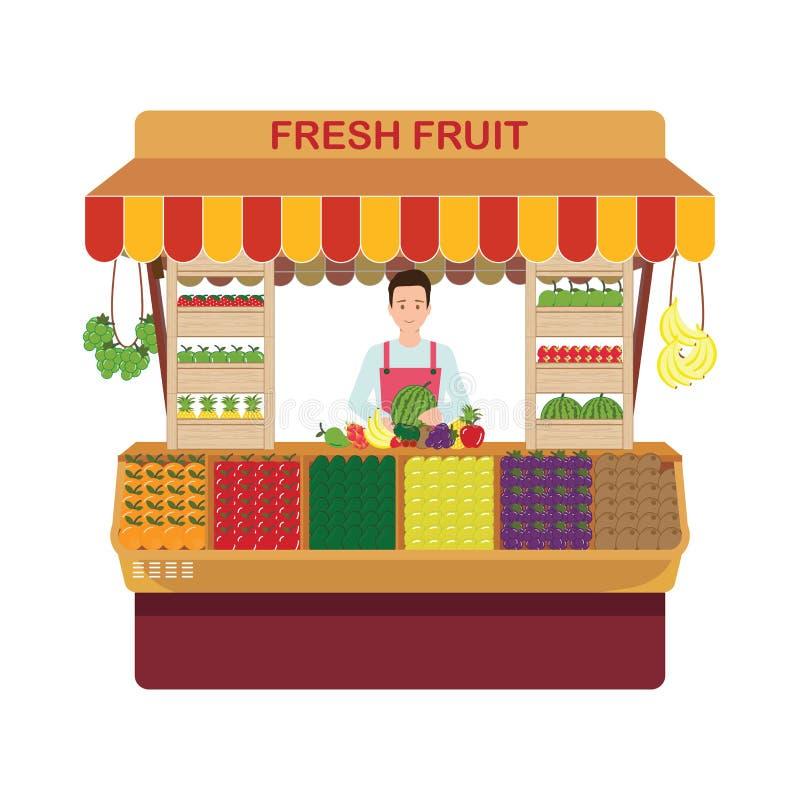 Λιανικός ιδιοκτήτης επιχείρησης φρούτων και λαχανικών που εργάζεται στο ST του διανυσματική απεικόνιση