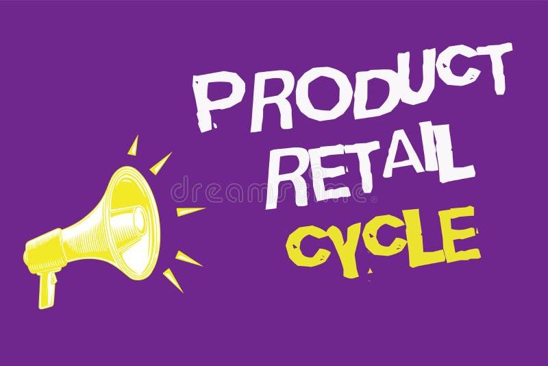 Λιανικός κύκλος προϊόντων κειμένων γραφής Η έννοια έννοιας ως εμπορικό σήμα προχωρεί μέσω της ακολουθίας σταδίων τρία την ιδέα κε απεικόνιση αποθεμάτων