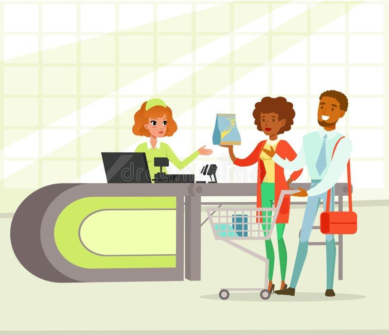 Λιανικός ταμίας γυναικών και νέο ζεύγος με τις αγορές, άνθρωποι που ψωνίζουν στη διανυσματική απεικόνιση υπεραγορών απεικόνιση αποθεμάτων