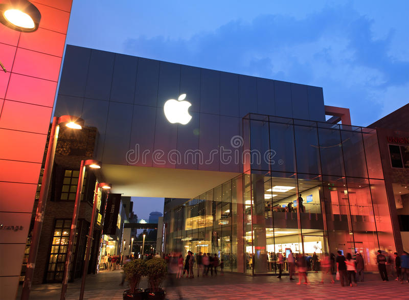 λιανικό κατάστημα sanlitun του Πεκίνου Κίνα μήλων στοκ εικόνες