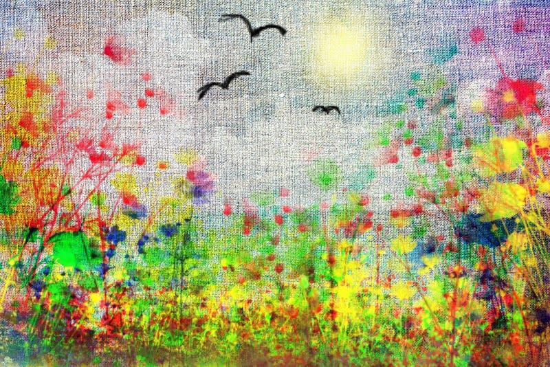 Λιβάδι με τα χρώματα πεδίων στοκ φωτογραφίες με δικαίωμα ελεύθερης χρήσης