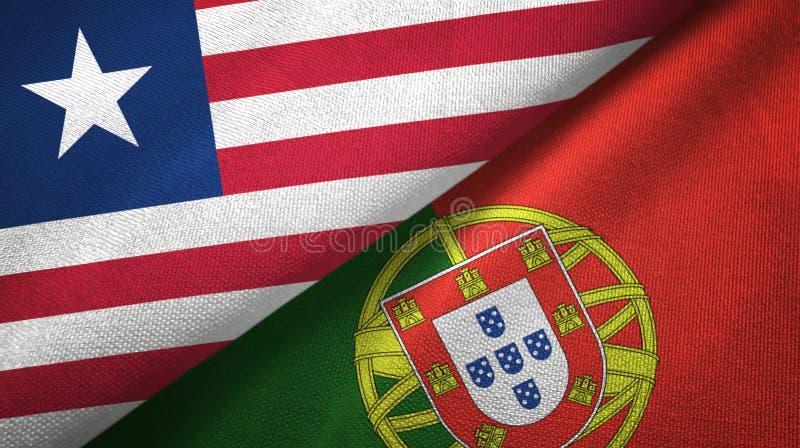 Λιβερία και Πορτογαλία δύο υφαντικό ύφασμα σημαιών, σύσταση υφάσματος διανυσματική απεικόνιση