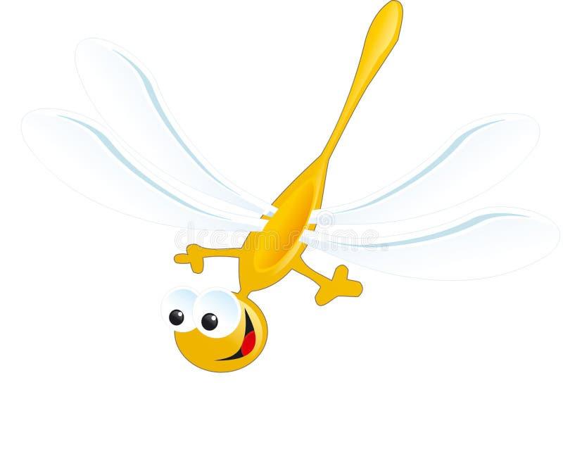 Λιβελλουλών κίτρινη μπλε μύγα τσαντών χαμόγελου ευτυχής στοκ εικόνες