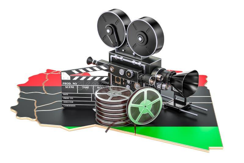 Λιβυκή κινηματογραφία, έννοια βιομηχανίας κινηματογράφου τρισδιάστατη απόδοση διανυσματική απεικόνιση