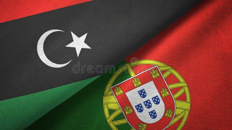Λιβύη και Πορτογαλία δύο υφαντικό ύφασμα σημαιών, σύσταση υφάσματος διανυσματική απεικόνιση