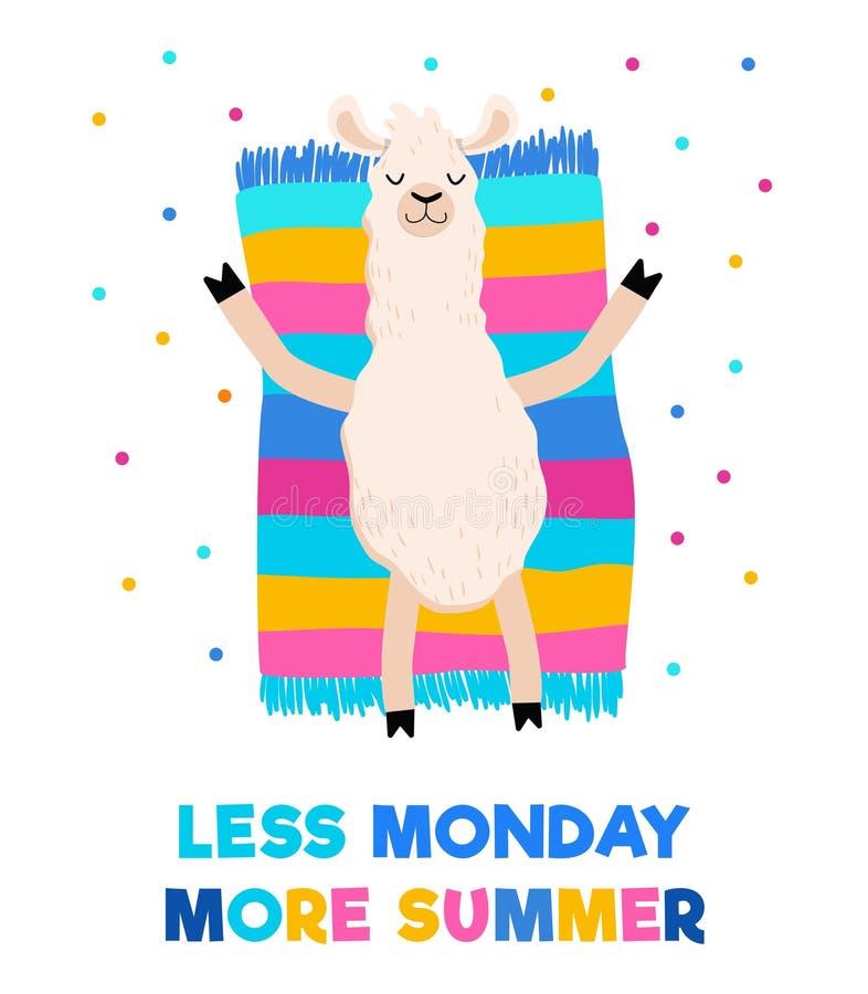 Λιγότερη Δευτέρα περισσότερη θερινή ζωηρόχρωμη κάρτα με κάνοντας ηλιοθεραπεία llama σε μια πετσέτα ή μια κουβέρτα Κινητήρια τυπωμ διανυσματική απεικόνιση