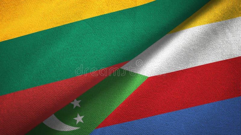 Λιθουανία και Κομόρες δύο υφαντικό ύφασμα σημαιών, σύσταση υφάσματος απεικόνιση αποθεμάτων