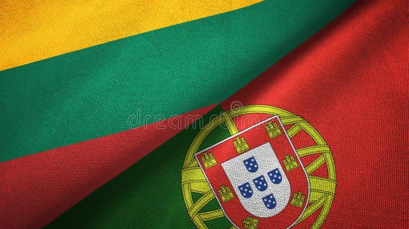 Λιθουανία και Πορτογαλία δύο υφαντικό ύφασμα σημαιών, σύσταση υφάσματος διανυσματική απεικόνιση