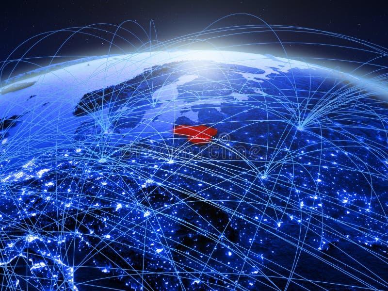 Λιθουανία στον μπλε ψηφιακό πλανήτη Γη με το διεθνές δίκτυο που αντιπροσωπεύει την επικοινωνία, το ταξίδι και τις συνδέσεις τρισδ στοκ εικόνες