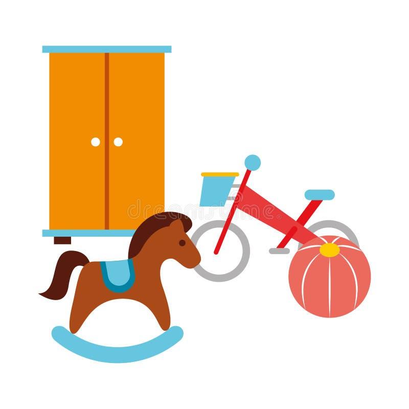 Λικνίζοντας παιδί παιχνιδιών σφαιρών ποδηλάτων αλόγων απεικόνιση αποθεμάτων