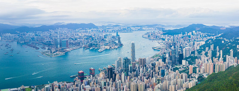 Λιμάνι Βικτώριας Χονγκ Κονγκ στην ημέρα, πανόραμα στοκ εικόνες