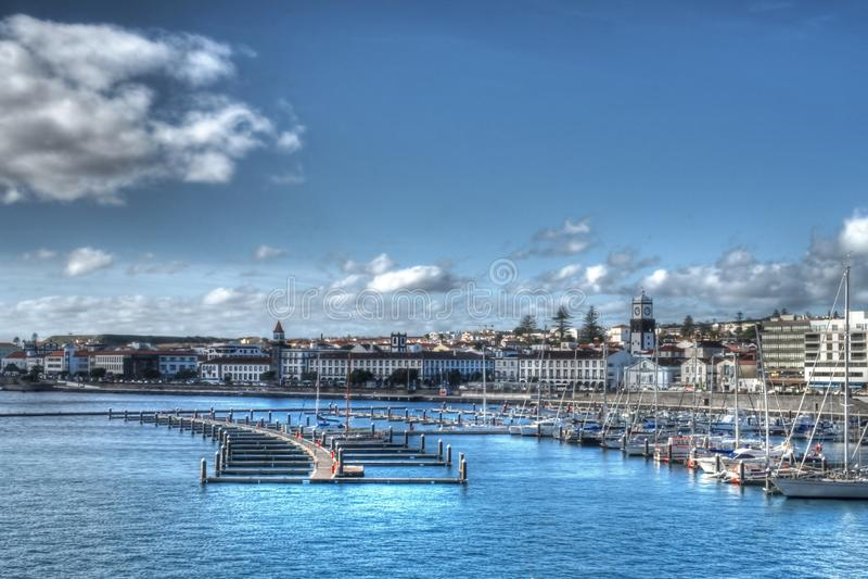 Λιμάνι σε Ponta Delgada, Αζόρες στοκ εικόνα με δικαίωμα ελεύθερης χρήσης