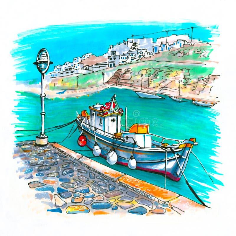 Λιμάνι στη Μύκονο, Ελλάδα απεικόνιση αποθεμάτων