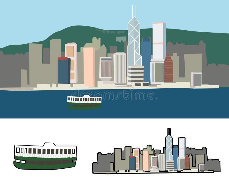 λιμάνι Χογκ Κογκ Βικτώρι&alp ελεύθερη απεικόνιση δικαιώματος