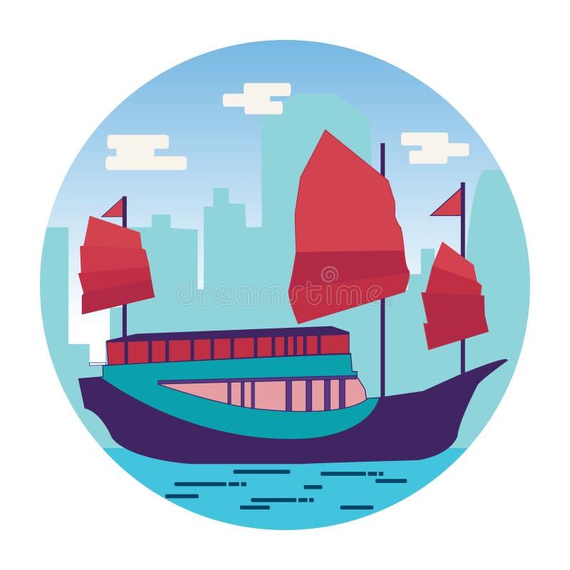 Λιμάνι Χονγκ Κονγκ με τα παλιοπράγματα τουριστών στο επίπεδο απεικόνιση αποθεμάτων