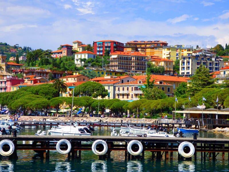 Λιμάνι Lerici Ιταλία στο Κόλπο του Λα Spezia στη Μεσόγειο στοκ φωτογραφία με δικαίωμα ελεύθερης χρήσης