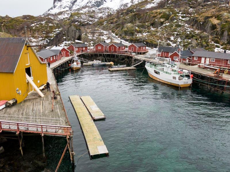 Λιμάνι Nusfjord, Lofoten, Νορβηγία στοκ εικόνες