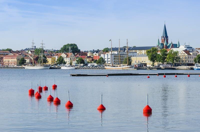 Λιμάνι Vastervik άποψης πόλεων στοκ φωτογραφία με δικαίωμα ελεύθερης χρήσης