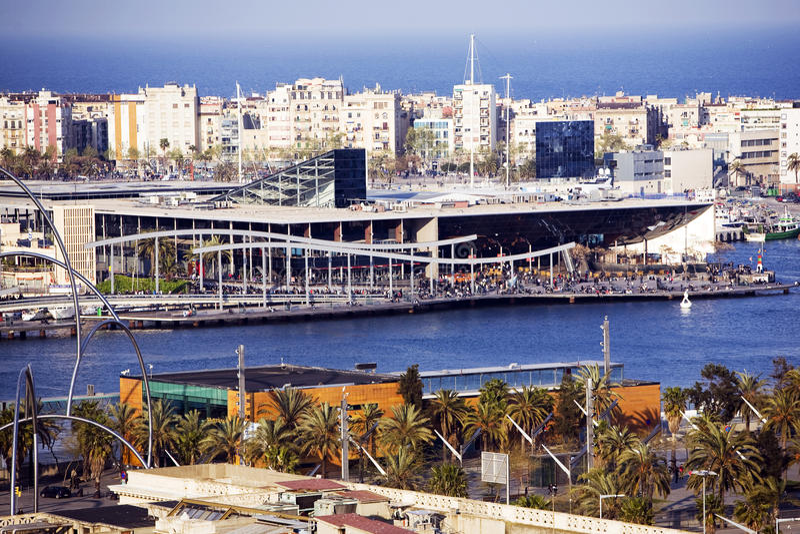λιμένας της Βαρκελώνης vell στοκ φωτογραφίες