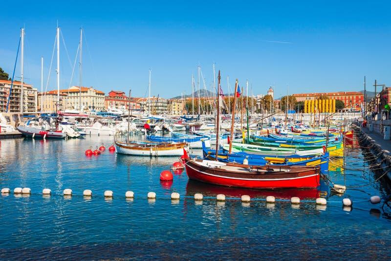 Λιμένας της Νίκαιας με τις βάρκες, Γαλλία στοκ εικόνα