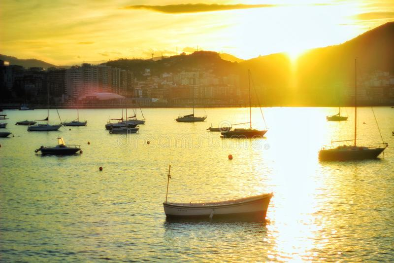 Λιμένας Getxo στο ηλιοβασίλεμα στοκ φωτογραφία με δικαίωμα ελεύθερης χρήσης