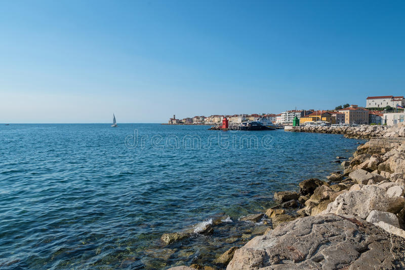 Λιμένας Piran με τις βάρκες, Σλοβενία στοκ φωτογραφία με δικαίωμα ελεύθερης χρήσης