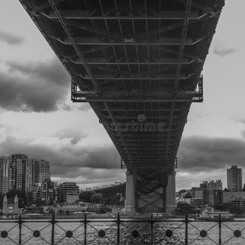 Λιμενική γέφυρα του Σίδνεϊ που πυροβολείται από κάτω από στοκ εικόνες