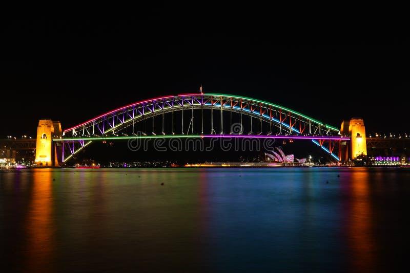 Λιμενική γέφυρα του Σίδνεϊ στο ζωηρό χρώμα στοκ φωτογραφία