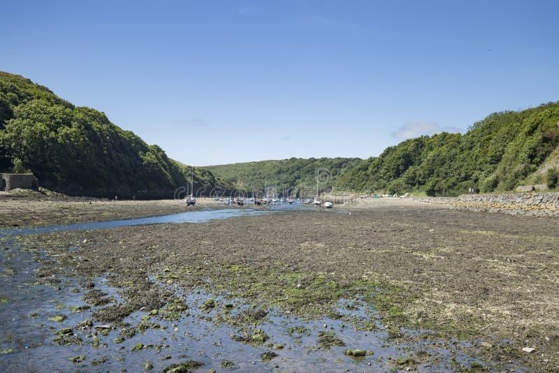 Λιμενική χαμηλή παλίρροια Solva στη θερμή ηλιόλουστη ημέρα στοκ φωτογραφίες με δικαίωμα ελεύθερης χρήσης