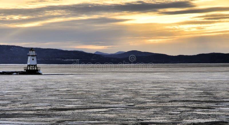 Λιμενικό ελαφρύ ηλιοβασίλεμα στοκ φωτογραφία