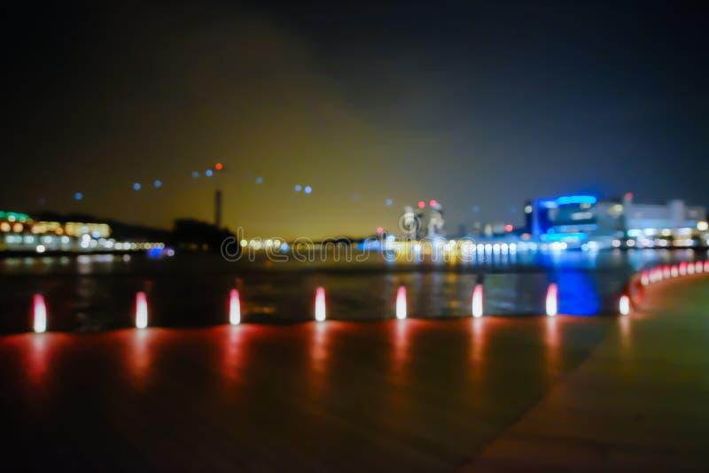 Λιμενικό bokeh θολωμένο υπόβαθρο φω'των πόλεων στοκ φωτογραφίες